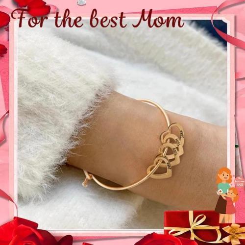 Mother's Day Gift Family Bangle Bracelet with Heart Shape Pendants