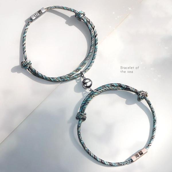 Magnetic personalized custom woven couple bracelet