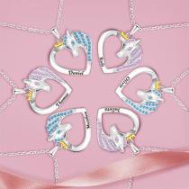 2021 Unicorn Necklace Color Peach Heart Necklace