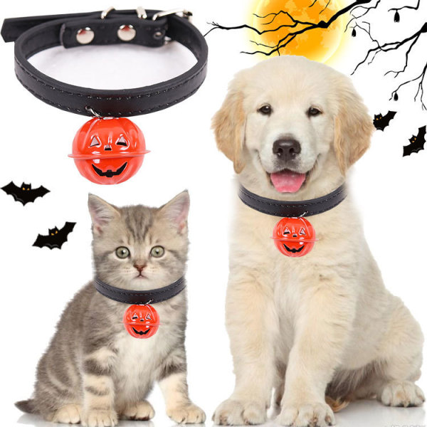 Halloween Dog Collar With Bell, Pumpkin Style Adjustable Collar For Dogs and Cats