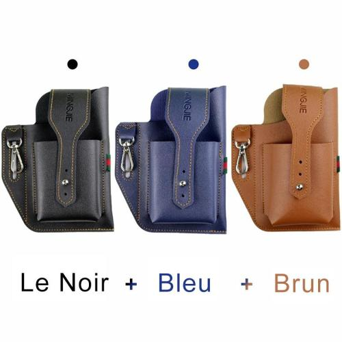 Leather Cell Phone Belt Pouch [with Keychain]
