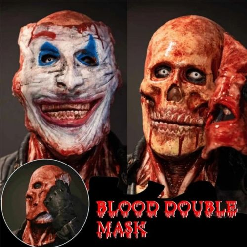 Bloody Horror Skull Latex Mask - Double-layer Ripped Mask / Scary cosplay