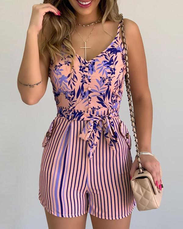 Women Jumpsuit Summer V-neck Floral Print Beach Romper