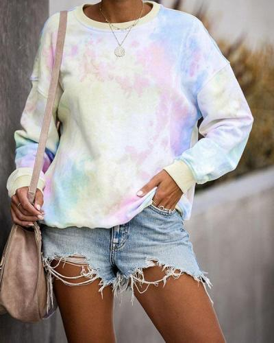 Long Sleeve Tie Dye Print Sweatshirt
