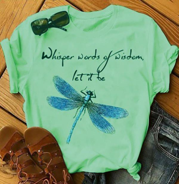 Women Letter Dragonfly Print Short Sleeve T-Shirts