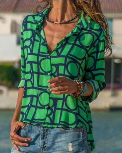 Geometric Casual Collar Long Sleeve Blouses