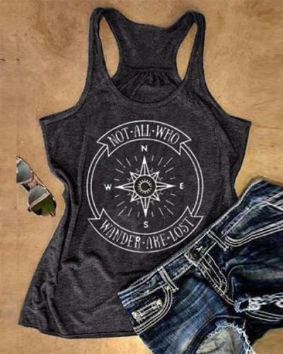 Vintage Letter Compass Print Tank Tops