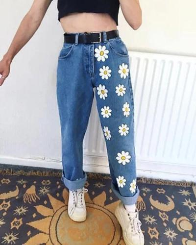 Casual Floral Print Loose Long Denim Pants Jeans