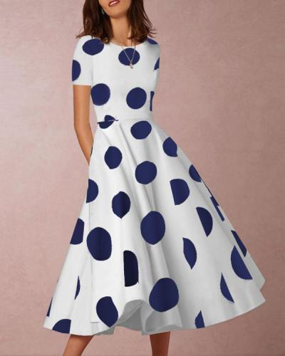 Sexy Round Neck Short Sleeve Polka Dot Print Dress