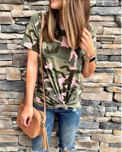 Camouflage Women's Casual Solid Daily Basic Top