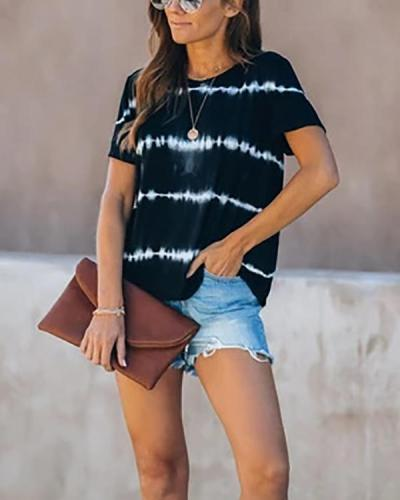 Striped Printed Casual Loose Home Fashion T-shirt