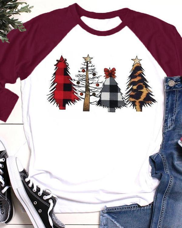 Christmas Tree Leopard Printed Baseball T-Shirt Tee