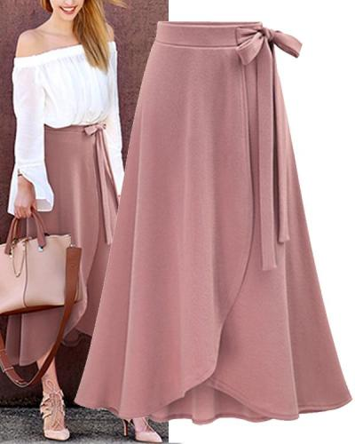 Women Solid Bow tie Belt Split Skirts