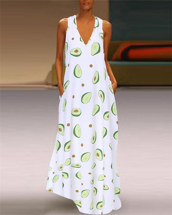 Sleeveless Cute Avocado Holiday Daily Fashion Maxi Dresses