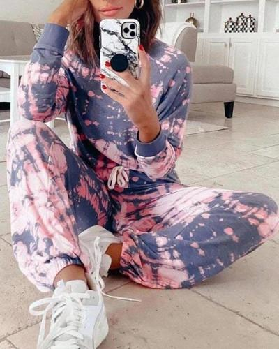 Casual Tye Dye Half Sleeve Adjustable Waistband Loungewear