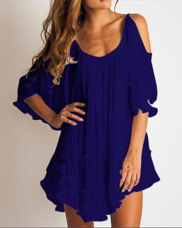 Solid 1/2 Sleeves/Cold Shoulder Sleeve Casual Elegant Blouse Dresses