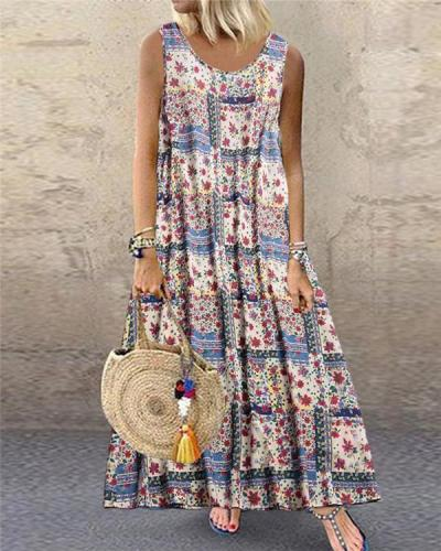 Bohemian Print Sleeveless Summer Plus Size Maxi Dress