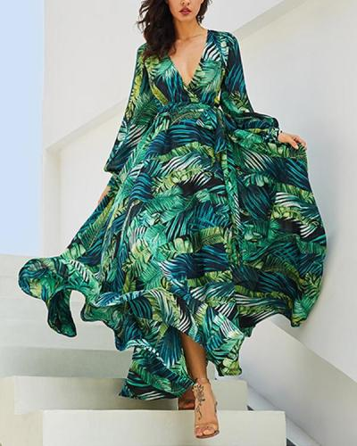 Green Tropical Beach Vintage Maxi Dresses Boho Casual V Neck Belt Lace Up Plus Size Dress