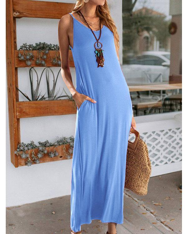 Women Casual Maxi Dress Solid Color