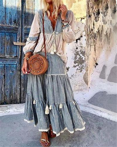 Plus Size Long Sleeve Holiday Fashion Bohemian  Maxi Dresses