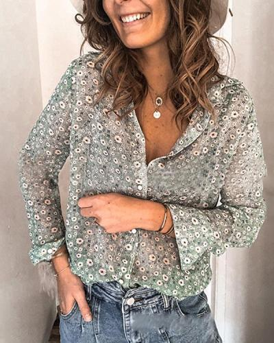 Floral-Print Bohemia Vacation Shirt Tops