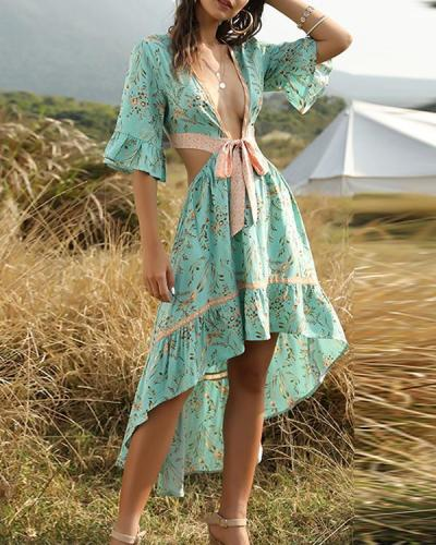 Boho Irregular Deep-V-neck Bandage Vacation Dresses