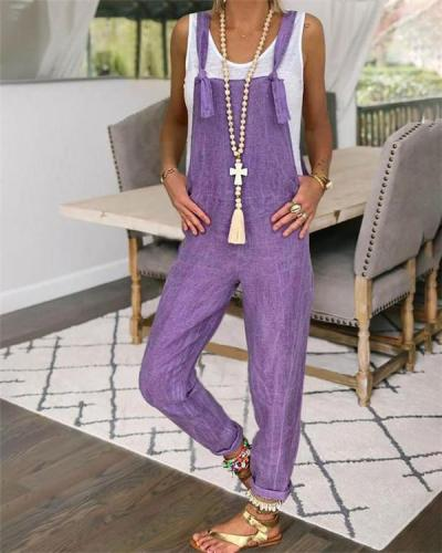 Spaghetti  Solid Purple Women Bottom Fashion Lady Jumpsuits