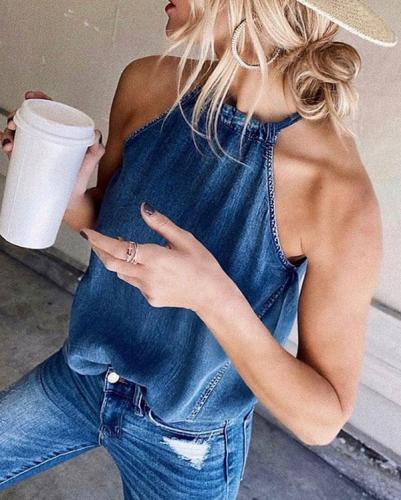 Classy Off-Shoulder Denim Sleeveless Vest