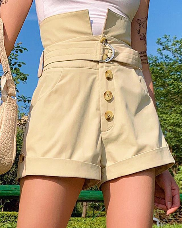 Buttoned Pocket Design Casual Shorts