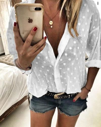 Polka Dot V-Neck Long Sleeves Button Up Casual Elegant Blouses