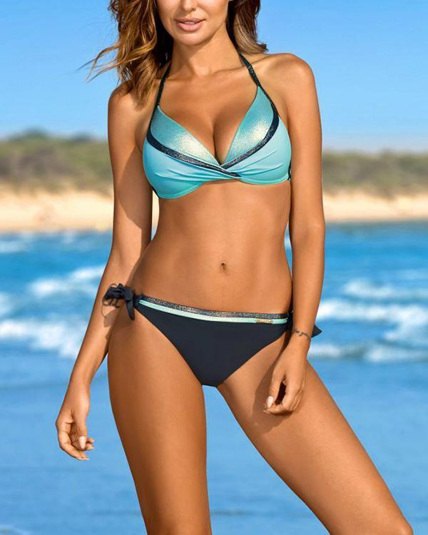 Colorblock Gather Bikini Suit
