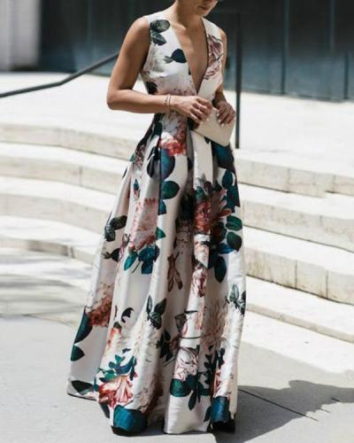 Stylish Floral Print Deep V Sleeveless Maxi Dress