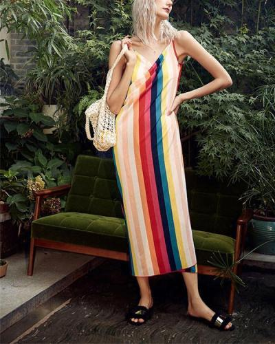Summer Colorful V-Neck Sleeveless Vacation Beach Dress