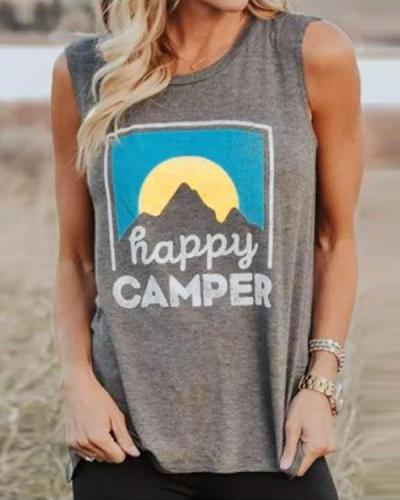 Happy Camper Letter Print O-Neck Tank Shirt