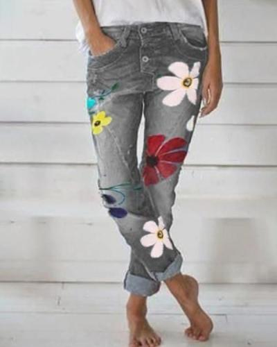 Women's  Vintage Floral Fashion Denim Bottoms Jeans Pants