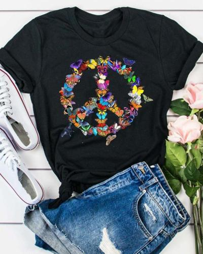 Butterfly Peace Sign Printing Short Sleeve T-shirt