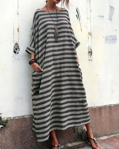 Women Casual Striped Linen Crew Neck Plus Size Dress