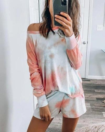 Colorful Tie Dye Oblique Shoulder Elastic Waistband Sweatsuit