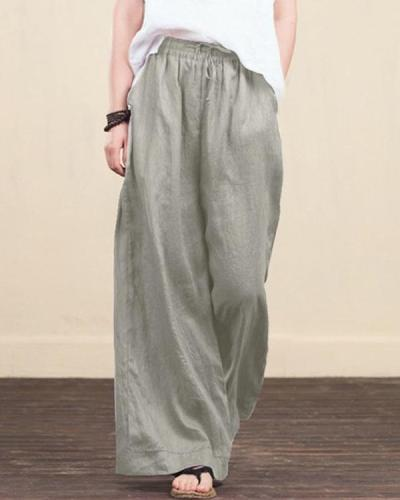 Women Elastic Waist Loose Wide Leg Long Pants