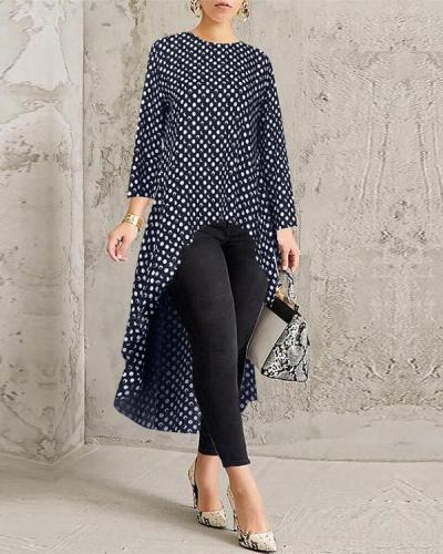 Women Printed Asymmetrical High Low Blouse