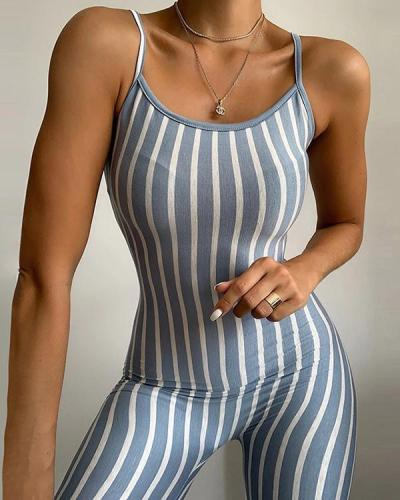 Strap Collar Collar Striped Base Casual Romper