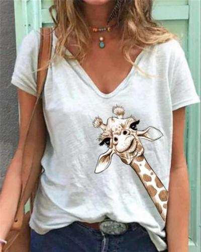 Women Simple Printed V Neck Short Sleeve Tops Shirt