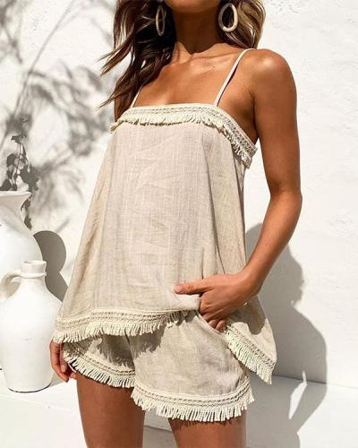 Spaghetti Strap Tassel Top & Shorts Set
