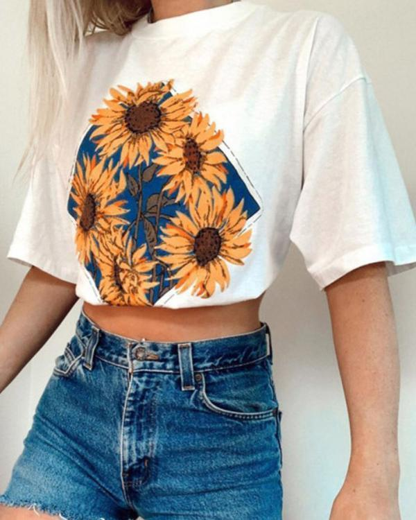 Fashion Printed Casual Basic Long T-shirts