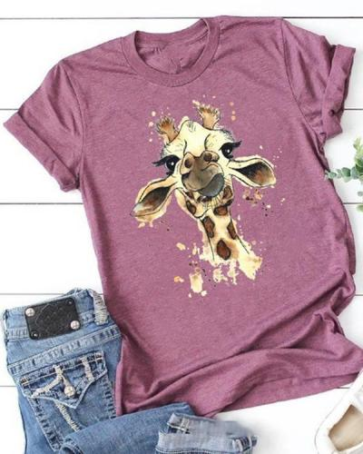 The Giraffe Printing Short Sleeve T-shirt
