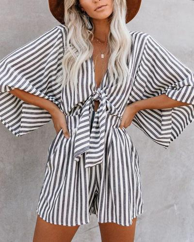 stripe Cotton Pocketed Tie Romper