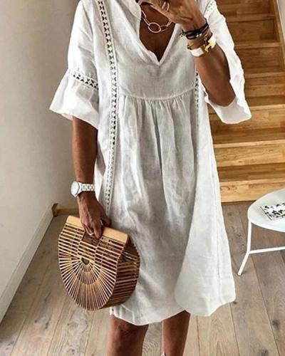 Solid Short Sleeves Crochet Casual Vacation Dresses