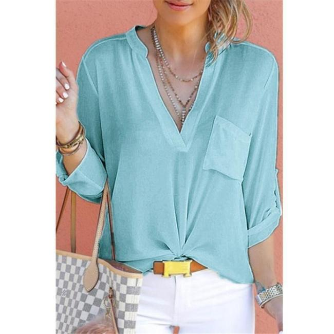 Plus Size Casual V Neck Solid T-shirts Tops For Women