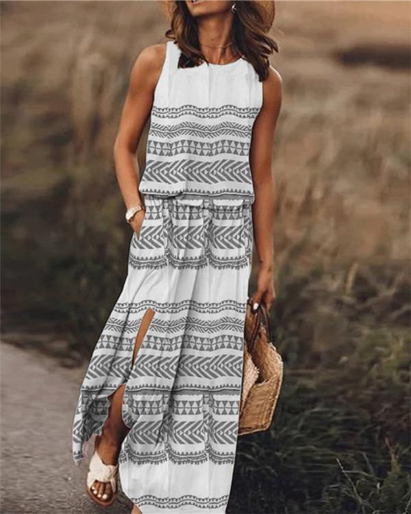 Printed Sleeveless Round Neck Holiday Daily Fashion Maxi Dresses