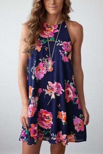 Random Floral Print Halter Neck Casual Dress